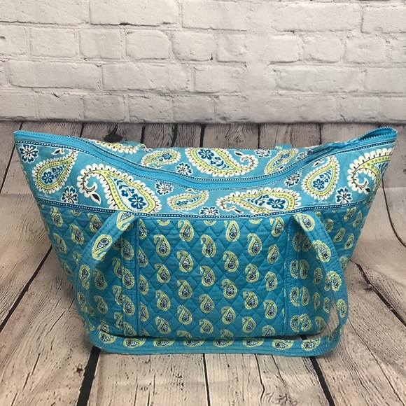 Vera Bradley Bermuda Blue Zip Up Tote Bag